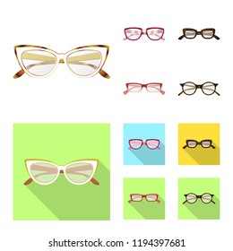 Vector illustration of glasses and frame logo. Set of glasses and accessory stock symbol for web.