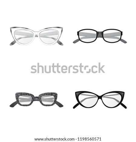 66b8c75f1d2a Vector illustration of glasses and frame symbol. Collection of glasses and  accessory stock symbol for