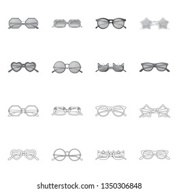 Vector illustration of glasses and sunglasses sign. Set of glasses and accessory vector icon for stock.