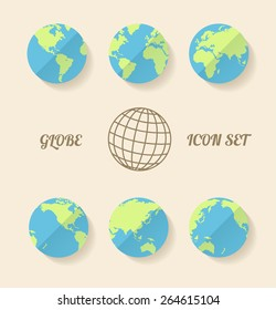 Vector illustration global set. Modern style. Planet in different views of the continents.