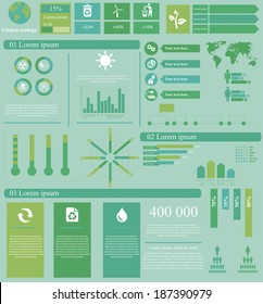 Vector illustration of global theme infographic with 18 icons, 1 world map and 5 different kinds of diagram.  File contains 14 groups of  elements, which can be ungrouped, combined or recolored