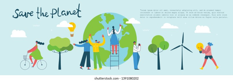Vector illustration with a globe and activists people around, in the flat style. Concept of day of the Earth, save the planet, save energy.