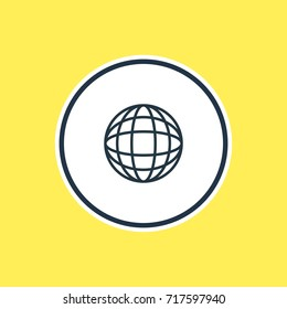 Vector Illustration Of Globe Outline. Beautiful Summer Element Also Can Be Used As Earth  Element.