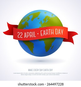 Vector illustration of globe with red ribbon and text Earth Day 22 April. Ecology concept.