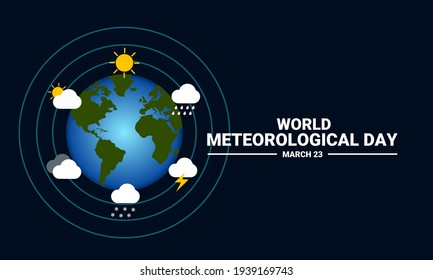 Vector illustration of a globe surrounded by weather icons, as a banner, posster, or template for world meteorological day.