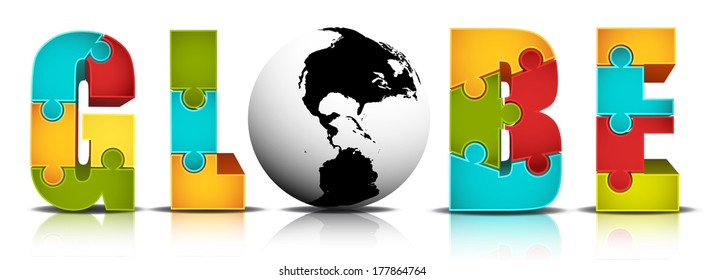 Vector illustration of globe word made of puzzle.