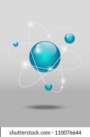 Vector illustration of glossy atomic model