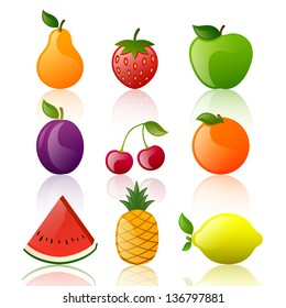 Vector Illustration of Glossy Fruits