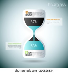 Vector illustration of glossy hourglass infographic elements.