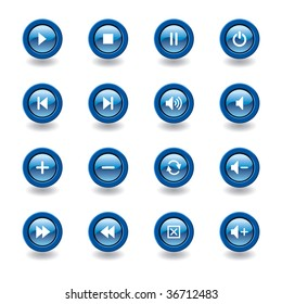 vector illustration of glossy media player icons and symbols