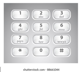 Vector illustration of a glossy white number phone keypad