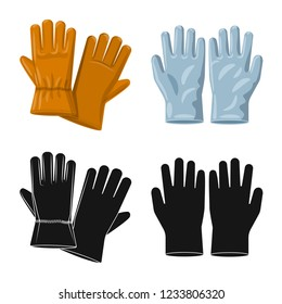 Vector illustration of glove and winter sign. Collection of glove and equipment stock symbol for web.
