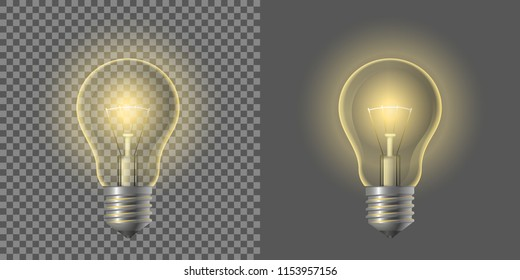 Vector illustration. A glowing light bulb on a transparent background.