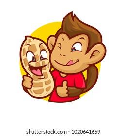 Vector illustration of a gmonkey holding happy nut.
