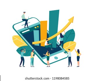 Vector illustration of goal achievement, graph from phone up, people doing work analysis, motivation for successful work.