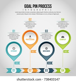 Vector illustration of goal pin process infographic design element.