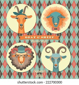 Vector illustration of goat and sheep, symbol of 2015. Hipster style. Element for New Year's design. Image of 2015 year of the goat.