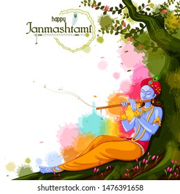 vector illustration of God Krishna playing flute on Happy Janmashtami festival background of India