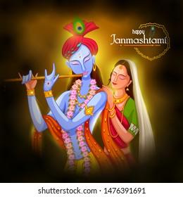 vector illustration of God Krishna playing flute with Radha on Happy Janmashtami festival background of India