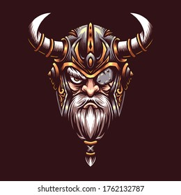 Vector illustration of God Odin Viking with Helmet, Axes, Armor on the Red background. Hand-drawn illustration for mascot sport logo badge label sign poster emblem patch t-shirt printing. Vector Logo