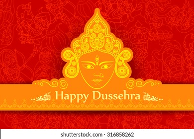 vector illustration of goddess Durga for Happy Dussehra