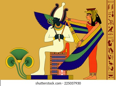 Vector illustration of the gods from ancient Egypt Osiris and Isis