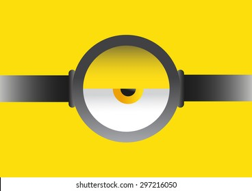 Vector illustration of goggle with eye on yellow colors background.