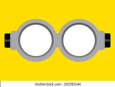 Vector illustration of goggle with on yellow color background