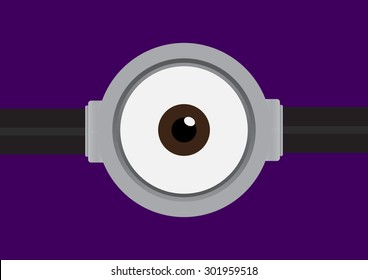 Vector illustration of goggle with one eye on purple color background