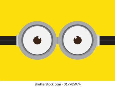 Vector illustration of goggle with two eye on yellow color background