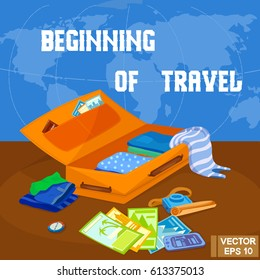 Vector illustration. Going on a trip. Collect the suitcase on the road. Beginning of travel. Start your journey