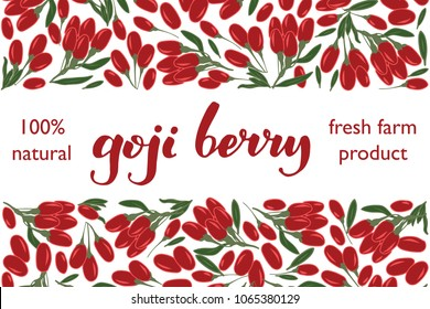 vector illustration of goji berry and leaf design with lettering goji berry background white and berry and text fresh farm product 100% natural for you EPS10