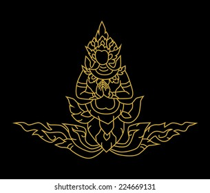 Vector illustration gold angel Thai art