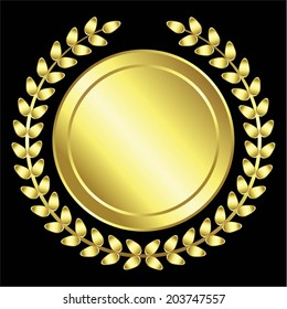 Vector illustration of Gold Award, a laurel wreath, black background
