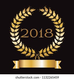 Vector illustration of Gold award on a black background. 2018 year. Gold ribbon and laurel wreath with sparkles. Winner of the year.