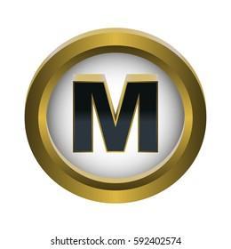 Vector illustration of gold and black metal 3d letter M