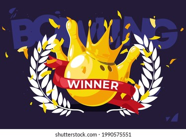 Vector illustration of gold bowling ball with golden pins with golden crown and golden crown of the winner, red ribbon of the winner with golden confetti on the background