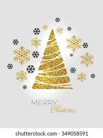 Vector illustration gold Christmas tree.  Holiday background