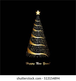 Vector illustration of Gold christmas tree on a black background.