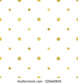 Vector illustration of gold circle pattern. Luxurious seamless of different sized polka dots.