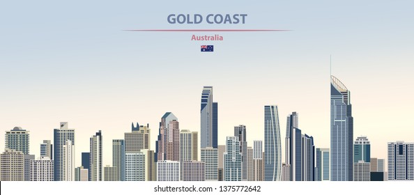 Vector illustration of Gold Coast city skyline on colorful gradient beautiful day time background