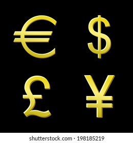 Vector illustration of gold coins with 4 major currencies. icon