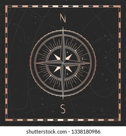 Vector illustration with gold compass or wind rose and frame on dark background. With basic directions North andSouth.