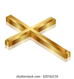 Vector illustration of gold cross
