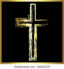 Vector illustration of a gold cross on the black.