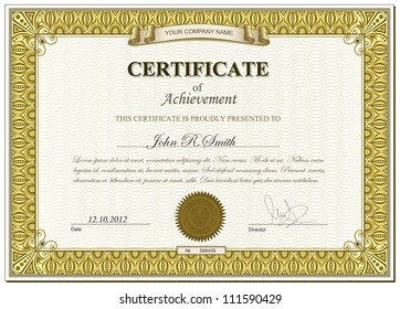 Vector illustration of gold detailed certificate