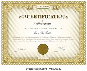 Vector illustration of gold detailed certificate