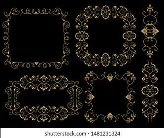 Vector illustration of gold dividers and frames openwork patterns fine filigree