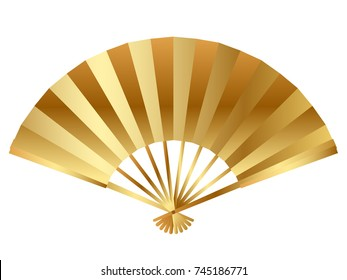 A vector illustration of a gold fan, one of the Japanese New Year's fortunate holiday items.