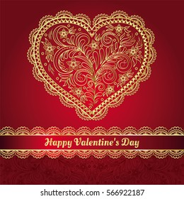 Vector illustration of a gold filigree heart on a red background. Vintage background for Valentines Day. Greeting card, Valentine.